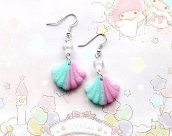 Pink and Teal Seashell Earrings - fairy kei earrings, mermaid earrings