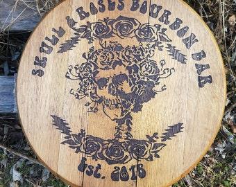 Skull & Roses Bourbon Barrel Head