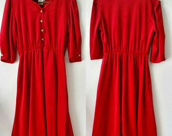 SALE Anthony Richards Mid Sleeve Button Up Red Velvet Dress