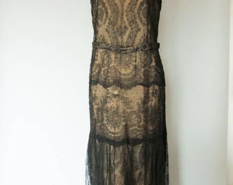 1920-30's Flappers Dress - Black Chantilly Lace With Train-  Evening Dress, Gatsby, costume