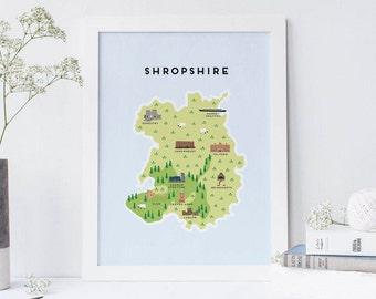 Map of Shropshire - Illustrated map of Shopshire