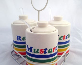 Set of 3 Condiment Containers with a Caddy Relish Mustard Ketchup Patio Deck BBQ Party