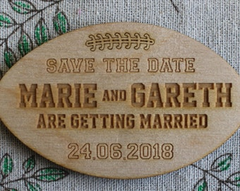 Wooden Rugby Ball / American Football Personalised Wedding SAVE THE DATE Magnets