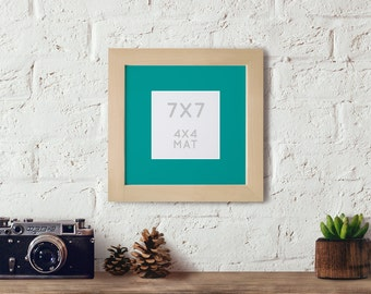 7x7 frame with 4x4 Mat, Wooden Picture frame for a 4x4, Matted Photo Frame, 7x7 frame, Square frame, Instagram frame, Cross stitch