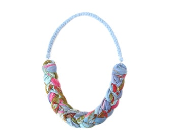 Braided Jewelry, Colorful Necklace, Fabric Necklace, Bib Cotton Necklace, Woven Necklace, Fiber Jewelry, Gift for Girlfriend
