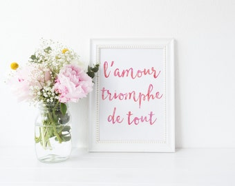 French Quote Home Decor l'amour triomphe de tout French Print Typographic Print Bohemian Art Inspirational Quote Love Conquers All Pink Art