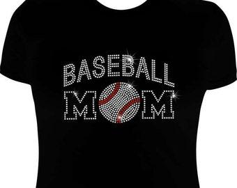 Baseball Mom shirt-Rhinestone-Baseball Mom shirt-mom shirt- baseball bling