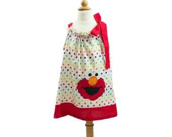 Girls Pillow case dress in a colorful polka dots  Elmo applique, Sesame Street Birthday outfit summer dress cruise dress pillow case dress,