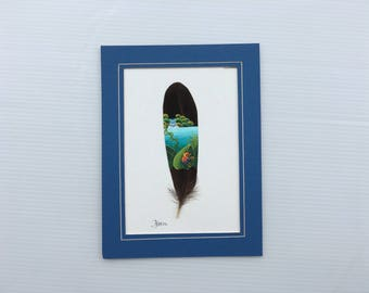 Blue Jeans Frog, Strawberry Poison Frog, Poison Dart Frog, Hand Painted Feather, Waterfall, Costa Rican Frog, Costa Rica Art, Blue Frame