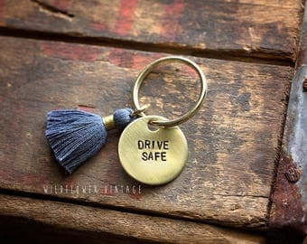 Drive Safe keychain | hand stamped graduation 16th birthday new driver gift sweet sixteen