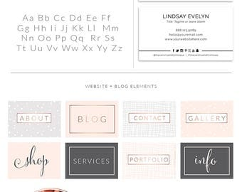 Rose Gold Photography Logo Kit Branding, Custom Logo design, Watercolor Premade branding package, Stamp watermark Calligraphy, 043