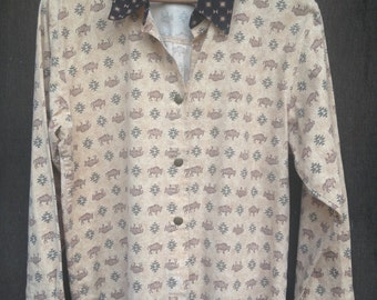 Vintage 1990's Southwestern Shirt / New Mexico / Long Sleeve / Button-up / Medium-Large
