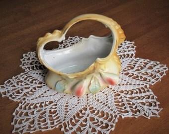 Vintage Bisque Porcelain Basket HJ Vienna