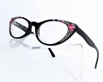 Cat Eye Reading glasses, Pink Flamingo Reading Glasses, +1.50 readers, Hand painted reading Glasses