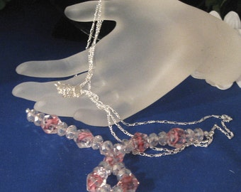 Rosie Necklace. Lively marbled pink creation!