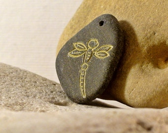 Dragonfly Pendant Drilled Beach Stone Pendant Rock Beads Natural Stone Beads Top Drilled Pebble