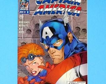Captain America Comic; #8 Marvel Comics Captain America, (Grade NM) 1997, Jim Lee Captain America (B1)
