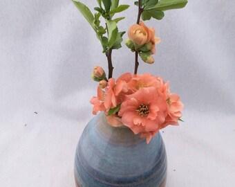 Copper and blue pottery vase, ceramic vase, metallic copper brown and light blue glaze, flower vase, bud vase
