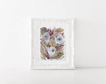 Modern Watercolor Floral - 8x10 Wall art - neutral colors Art Print