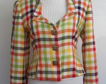 Colorful blazer, S, plaid jacket, designer jacket, plaid blazer, primary colors jacket, bold jacket, cropped jacket, cropped blazer