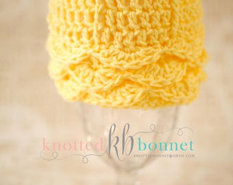Yellow Cotton Newborn Baby Girl Cap