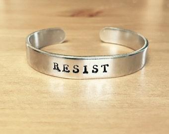 Resist Political Hand Stamped Adjustable Cuff Bracelet