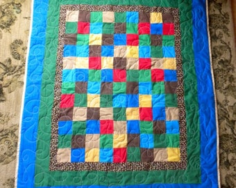 homemade Baby Quilt 42x50 ~all BOY