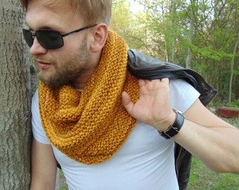 Mustard Men Cowl Infinity Scarf for Men Yellow Wool Winter Cowls Scarf Wool Men Cowl Warm Boy Snood Neckwarmer Mustard Wool Soft Knit Wrap
