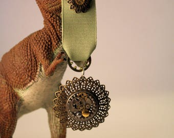 Steampunk medal with real clock gears