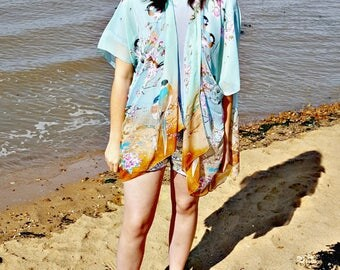boho kimono cardigan - white lace kimono - short kimono robe- fringe kimono - sheer kimono - sheer beach tunic - cardigan kimono - boho