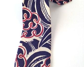 Vintage 30s 40s Tie, Mens Navy Necktie, Navy, Black, White, Swirls, Rayon, Wide, Swing Tie, Multiples, Lindy Hop, Anniversary, Gift for Him