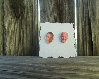 Obama and Biden Earring studs, Obama Studs, Biden Studs, Best Friends Earrings, President Earrings, Celebrity Face Earrings