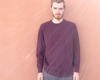Vintage LL Bean Wool Blend Maroon Sweater size Large Tall LT