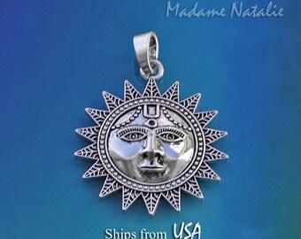 Sun Pendant, Antique Silver Tone Sun Big Pendant for Long Necklace, Celestial Jewelry, Silver Sun Face Pendant, Radiating Sun Pendant