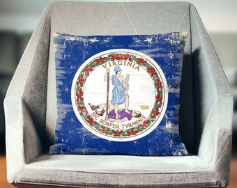 Virginia Pillow | Virginia Decor | Virginia Throw Pillow | Virginia Flag Pillow | Virginia Gifts | Virginia State Flag | Virginia Flag