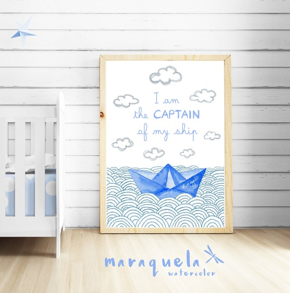 CUSTOM Paper Boat BLUE OCEAN baby illustration with personalized name.