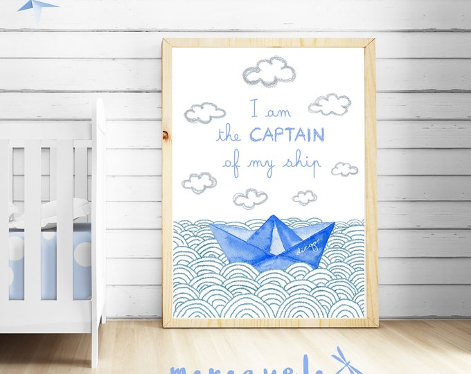 CUSTOM Paper Boat BLUE OCEAN baby illustration with personalized name and quote.Customized Newborns.I am the captain of my ship.Bedroom kids