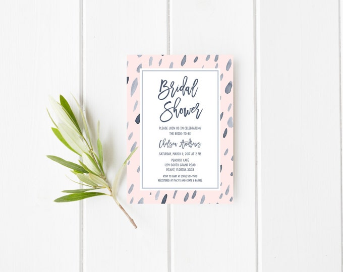 Pink Watercolor Bridal Shower Invitation, Modern Tribal Bridal Shower Invite, Pink and Gray Printable Wedding Shower Invitation
