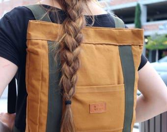 Canvas Backpack/Laptop Bag, Handmade backpack - Nutmeg