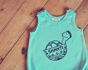 Summer romper, Turtle baby outfit, Aqua beach romper, hippie baby outfit, Unisex baby outfit, Yoga baby outfit, Shanti baby, Hipster baby