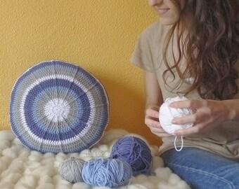 Blue embossed handmade crochet cushion