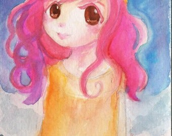 Original watercolor painting Child of Light