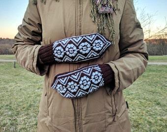 Hand knit acrylic mittens, knitted mittens, warm mittens, handknit mittens, fingerless gloves