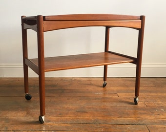 Danish Modern Teak Bar Cart with Removable Serving Tray