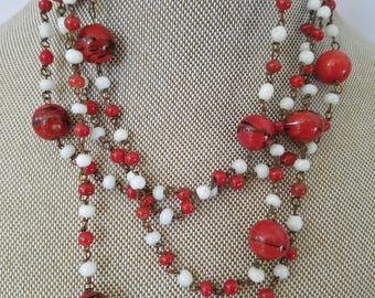 Vintage Glass Flapper Necklace, Long Red Necklace of Red and White Glass Beads Gift For Her
