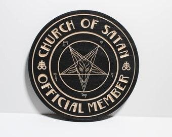 Church of Satan Official Member Plaque   Wooden Carved in Solid Premium Pine   Anton LaVey   Sigil of Baphomet   Satanic   Satanism
