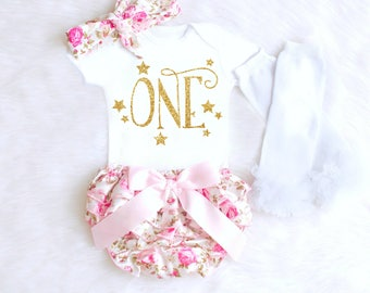 Bloomer 1st Birthday Outfit Floral 1st Birthday Outfit for Girls Chic 1st Birthday Outfit Girl Star First Birthday Outfit ANY AGE BC1