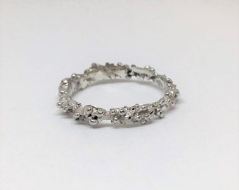 Stacking Silver Ring - Alternative Wedding Band - Textured Jewellery - Alternate Wedding Ring - Midi ring - Stackable ring