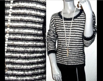 COZY Striped Black/White Slub Scoop Neck Long Sleeve Super Soft Stretch Pullover Sweater L/XL