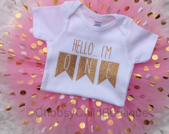 First Birthday Outfit, First Birthday Girl, 1st Birthday Pink and Gold, First Birthday Onesie, One Onesie, Pink and Gold Tutu,